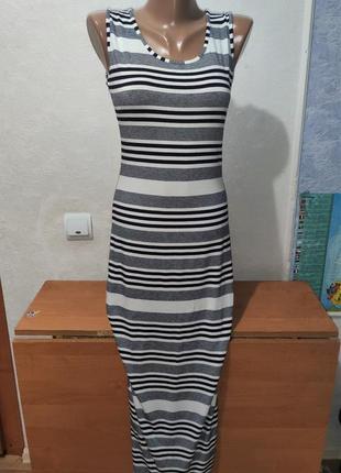 Платье в пол полоска