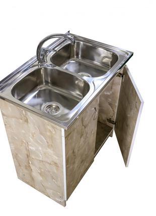 Кухонная мойка с тумбой 80 х 60 см Оникс двойная