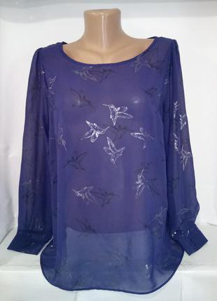 Блуза новая с птичками калибри f&f uk 16/44/xl