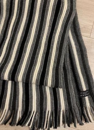 Тёплый вязанный шарф мужской