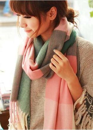 Шарф, палантин, клетчатый шарф, шарфик