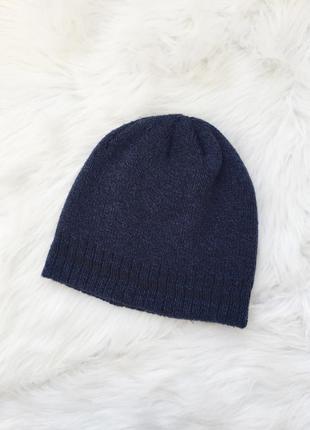 Шапка, вязанная шапка, мужская шапка, синяя шапка