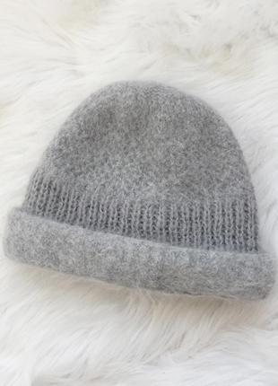 Шапка, шапочка, шерстяная шапка, шерсть, серая шапка, ангора