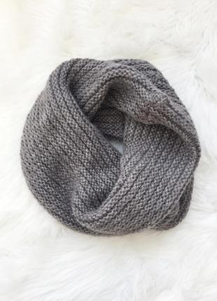 Шарф, хомут, вязанный шарф, вязанный хомут, серый хомут