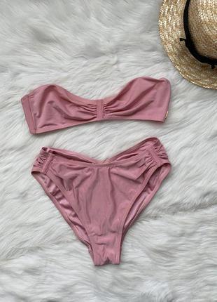 Купальник, раздельный купальник, розовый купальник, высокая по...