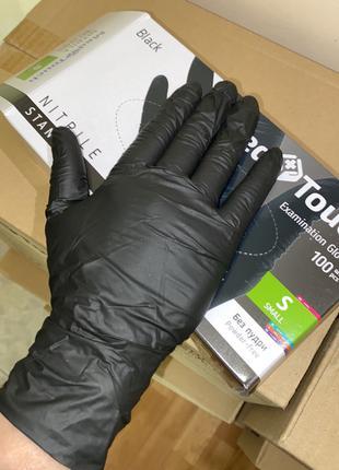 Перчатки нитриловые черные S M L