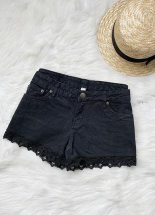 Шорты, шорти, черные, джинсовые, чорні, джинсові, с кружевом, ...
