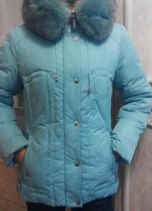 Куртка пуховик мех песец,внутри пух