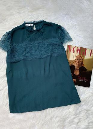 Блуза, блузка, зеленая, зелена, изумрудная, с кружевом, з мере...