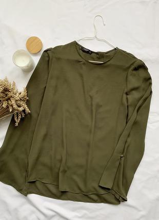 Блуза, блузка, хаки, хакі, зеленая, зелена, широкий рукав, ман...