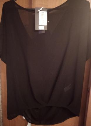 Костюм юбка и блузка, чёрный шифон размер 44-48 imperial