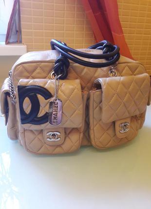 Модная женская кожаная сумка chanel номерная