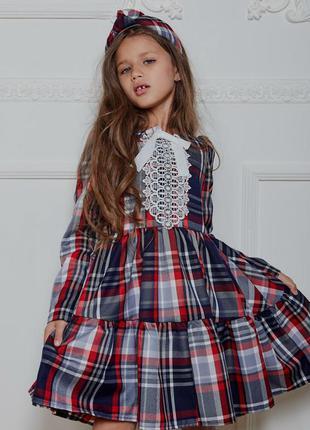Платье детское, подростковое, школьное, повседневное, в клетку...