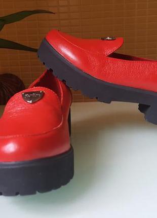 Модные женские кожаные туфли ksl цвет -красный