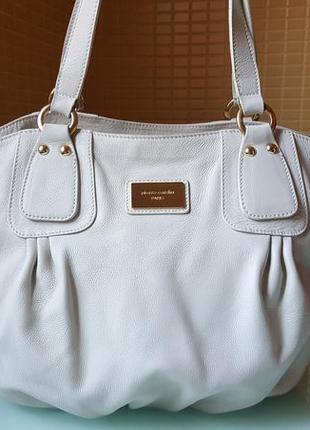 Летняя белая кожаная женская сумка pierre cardin original