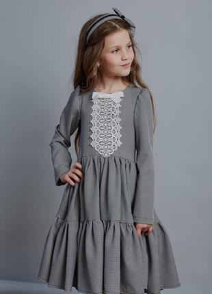 Платье детское, подростковое, школьное, повседневное, серое гу...