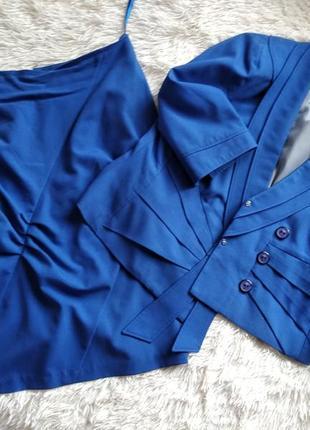 Эффектный костюм синего цвета, размер 46