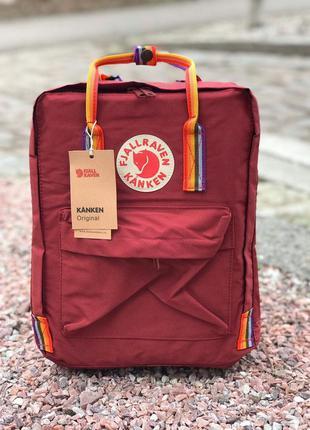 Рюкзак fjallraven kanken фьялравен fjällräven красный с радугой