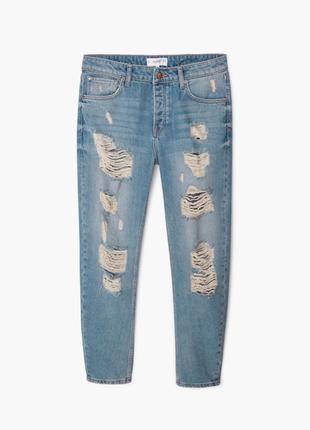 Бойфренды mango джинсы angie равные джинсы с дырками mom jeans