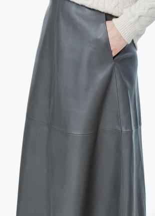 Кожаная юбка миди спідниця серая за колено юбка миди из кожи