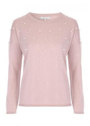 Розовый свитер с жемчужинами свитшот с бантиком с жемчугом кофта