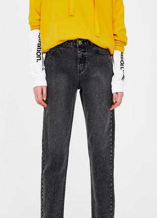 Серые мам джинсы с высокой талией варенки мамы mom jeans винта...
