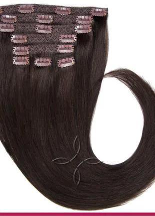 Волосся на кліпсах європейське 50 см 100 грам, Чорний №1С