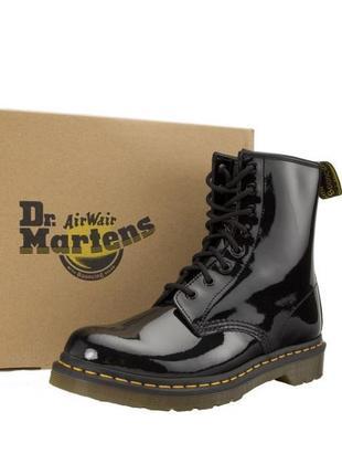 Женские демисезонные кожаные лакированные ботинки dr. martens