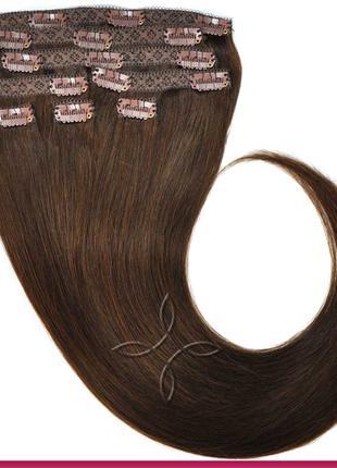 Волосся на кліпсах європейське 50 см 100 грам, Шоколад №02