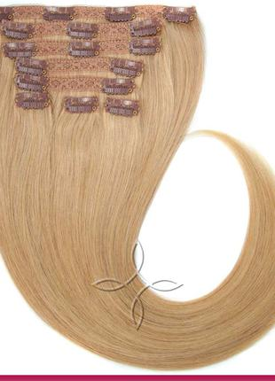 Волосся на кліпсах європейське 50 см 100 грам Русявий світлий №16