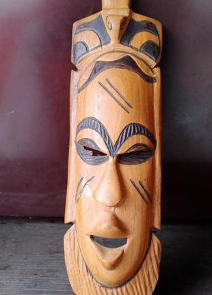 Деревянная, декоративная, настенная маска африканского стиля