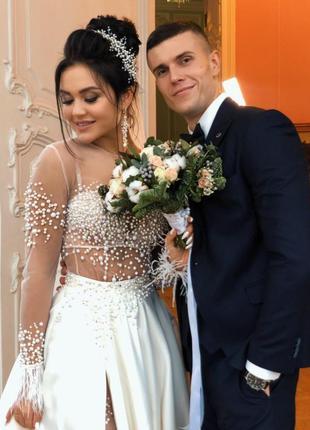Набор свадебных украшений молочного цвета