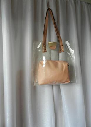 Красивая сумка 2 в 1 прозрачная большая сумка и красивая косме...