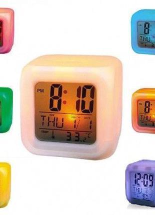 Будильник-хамелеон с термометром