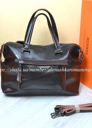 Женская кожаная сумка galanty шоколад