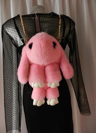Пушистый сумка рюкзак натуральный мех зайка кролик