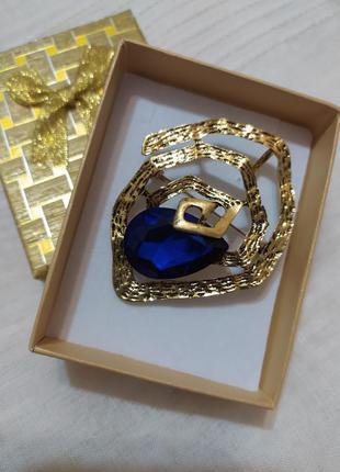 Ультрастильная брошь - кулон  синий камень /стиль zara