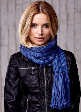 17-163 вязаный шарф с блестящей нитью и бахромой