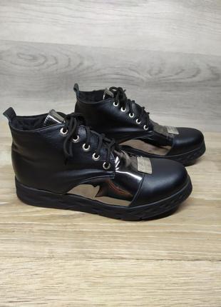 Кожаные зимние ботинки , 40 размера , кожаные ботинки , шкірян...
