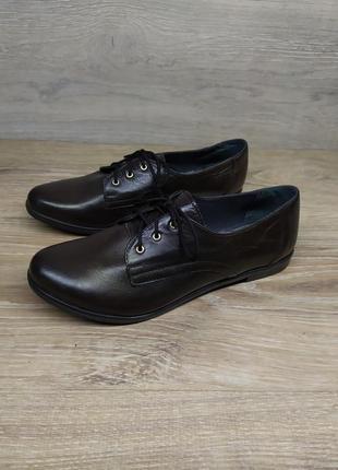 Кожаные туфли женские , 37 размер , туфли на шнурках  / шкірян...