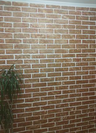 Имитацыя кирпичной стены ,поклейка обоев
