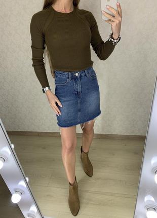 Джинсовая юбка с необработанным низом denim co