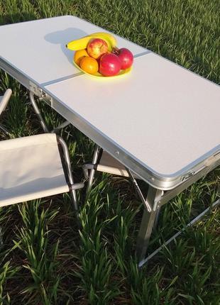 Раскладной усиленный стол-чемодан с 4 стульями