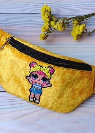 Сумка-бананка с куклой l.o.l, поясная велюровая сумка 73(4),ба...