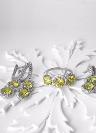 Комплект серебро 925 кольцо, серьги и подвес лк0049