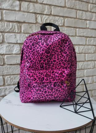 🔥🔥🔥рюкзак небольшого размера розовый с принтом леопард, леопар...