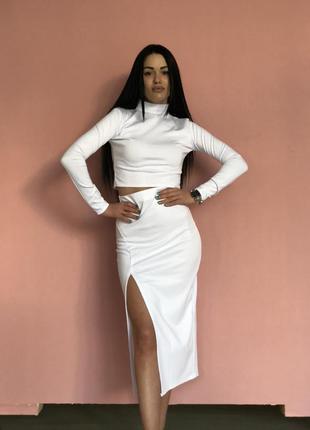 Костюм комплект топ и юбка белый