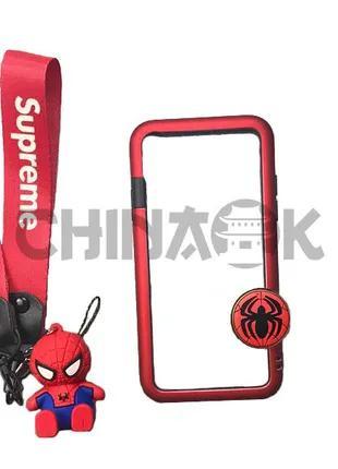 Чехол Marvel Spider-Man + ремень Supreme + Брелок для iPhone X/XS
