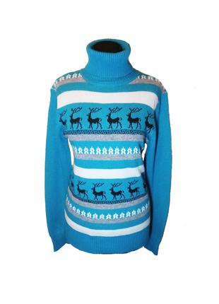 Свитер с оленями голубой, M-XL
