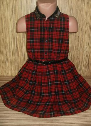Платье в клетку на 4-5 лет
